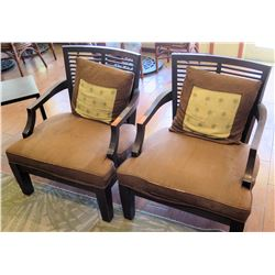 Qty 2 Matching Upholstered Wood Frame Armchairs