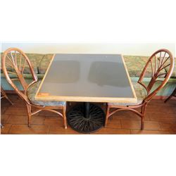 Table with Metal Base & 2 Rattan Chairs