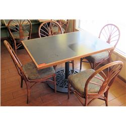 Table with Metal Base & 4 Rattan Chairs