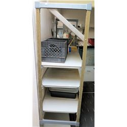 Metal Shelving Unit with Dish Tubs