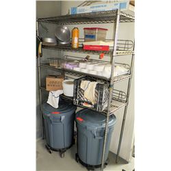 Metal Wire Shelving and Contents of Shelves