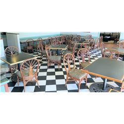 Large Lot of Tables w/ Metal Bases & Rattan Chairs w/ Padded Seats (qty to be determined)