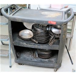Plastic Rolling Cart with Misc. Cooking Pans