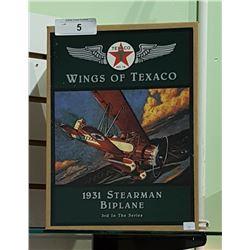NIB WINGS OF TEXACO 1931 STEARMAN BIPLANE DIE CAST COIN BANK