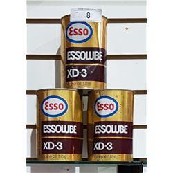 3 VINTAGE ESSOLUBE XD3 OIL QUARTS