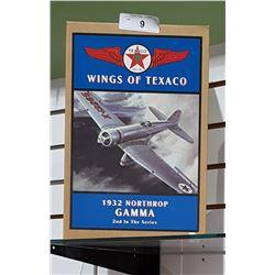 NIB WINGS OF TEXACO 1932 NORTHROP GAMMA DIE CAST COIN BANK