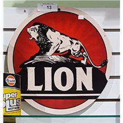 LION GASOLINE METAL SIGN