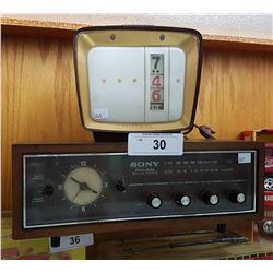 1960'S SONY AM/FM ALARM CLOCK RADIO & VINTAGE TELEVISION CLOCK