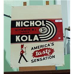 1940'S NICHOL KOLA METAL SIGN