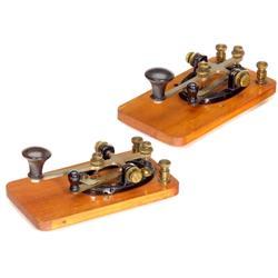 2 Edison Patent Telegraph Keys, c. 1890