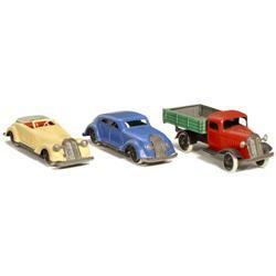 "3 Blech-Modellautos ""Gnom"", 1935"