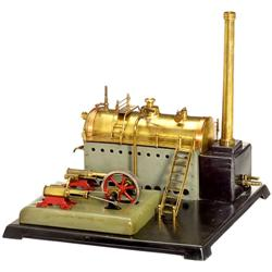 Liegende Dampfmaschine mit 2 Zylindern