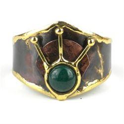 Stunning Handmade Brass Cuff with Jade