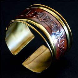 Ancient Diamond Shaped Pattern Copper Cuff Bracelet