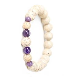 Lotus Seed and Azurite Wrist Mala Bracelet