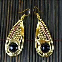 Brass and Copper with Onyz  Stone Teardrop Earrings
