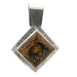 Lepard Jasper Square Silver Pendant