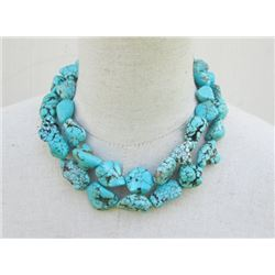 Classy Chunky Turquoise Necklace- Chuck Nuggets Double Strand