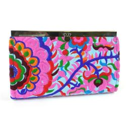 Handmade Chic Turquoise Blossom Snap Clutch