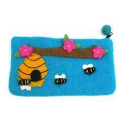 Blue Bee Felt Clutch (Children and Teens Would Love)