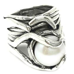 Sterling Silver and encased Female Pearl Ring