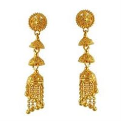 Beautiful 14 KT Solid Yellow Gold Handmade Drop Earrings