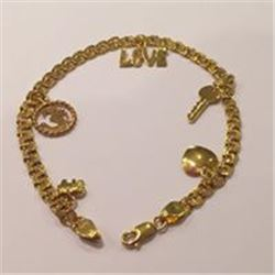 Beautiful Handmade  SOLID 14KT Yellow Gol;d Charm Bracelet Made With LOVE