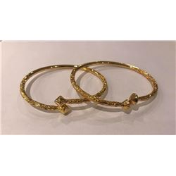 Solid 14 KT  SOLID Handmade Ladies  Yellow Gold Bangles