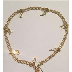 Beautiful Handmade 14k KT Solid Yellow Gold Charm Bracelet