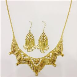 Solid 14 kt Handmade Gold Necklace and Earring Set