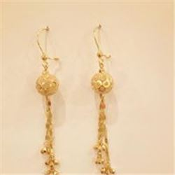 Solid 14 Kt Handmade  Custom- Made Drop Earrings