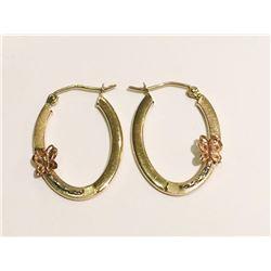 14 KT Solid Yellow  Gold Hoop Earrings (Flower Design) Handmade