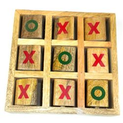 Handcrafted Tic -Toe-Toe Wood  Game With Flipping Blocks