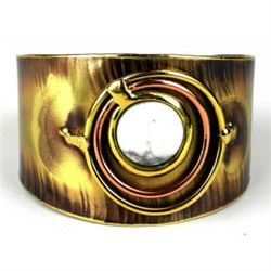 Dramatic Handmade Howlite Brass and Copper Cuff Bracelet