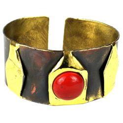 Handmade Red Jasper Brass Cuff Bracelet
