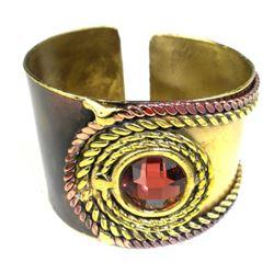 Handmade Rope and Rose Stone Brass Cuff