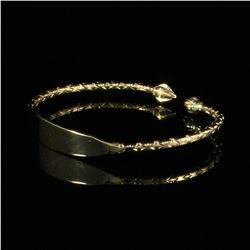 Handmade 14 Kt Gold ID Bangle Bracelet