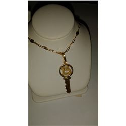 Handmade 14 Kt Solid Yellow Gold Key Necklace