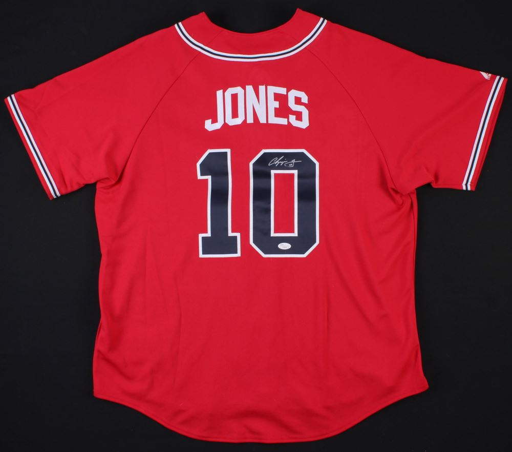 buy popular a0aa5 3982a Chipper Jones Signed Braves Jersey (JSA Hologram)