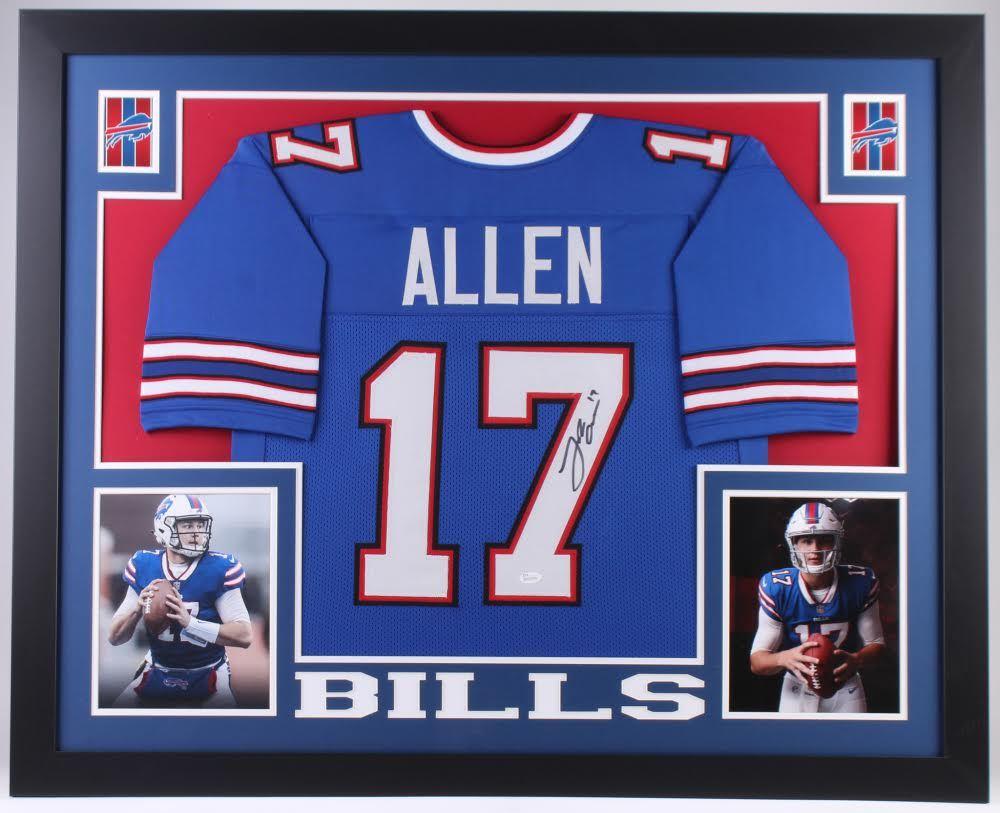 Josh Allen Signed Bills 35x43 Custom Framed Jersey (JSA COA)