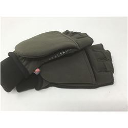 Olive Green Seal Skin Gloves with magnetic fold back- Size small