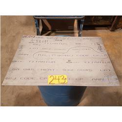 "Titanium Sheet 21""1/4 x 31"" x 0.045"