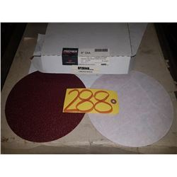 "Box of Carbo PREMIER Red Resin Paper stick-on Disc 8"" Gr.40"