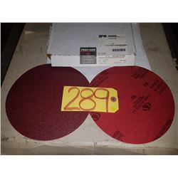 "Box of Carbo PREMIER Red Resin Paper stick-on Disc 8"" Gr.80"