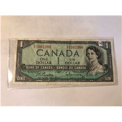 1954 Bank of Canada 1 Dollar OTTOWA in AU+ Condition in Plastic Sleeve Serial # 1901986
