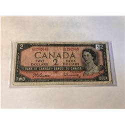1954 Bank of Canada 2 Dollar OTTOWA in XF+ Condition in Plastic Sleeve Serial # 1262048