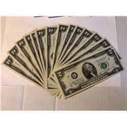 14 1976 Bicentennial $2 Bills Consecutive Serial #'s ALL Crisp UNC Starting L26049876A - L26049889A