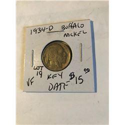 Rare Key Date 1934 D Buffalo Nickel Very Fine Grade