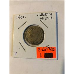 """Early 1906 Liberty """"V"""" Nickel in Fine Grade Some LIBERTY Nice US Coin"""