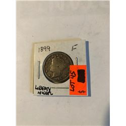 """Early Key Date 1899 P Liberty """"V"""" Nickel in Fine Grade Some LIBERTY in BAND Nice US Coin"""